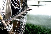 Het fanfogsysteem van Reldair. Een grote fan vernevelt een bijzonder fijne mist. Pootgoed wordt hierbij niet nat en er zal geen schade aan producten zijn. Bij klimaatbeheersing een onmisbaar systeem dat niet alleen nevelkoeling biedt maar ook bevochtiging van de kas.